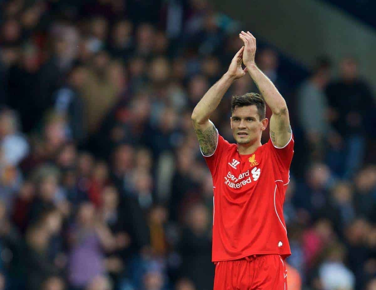WEST BROMWICH, ENGLAND - Saturday, April 25, 2015: Liverpool's Dejan Lovren applauds the supporters after the goal-less draw against West Bromwich Albion during the Premier League match at the Hawthorns. (Pic by David Rawcliffe/Propaganda)