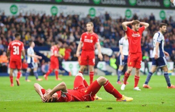 WEST BROMWICH, ENGLAND - Saturday, April 25, 2015: Liverpool's Dejan Lovren looks dejected after missing a late chance against West Bromwich Albion during the Premier League match at the Hawthorns. (Pic by David Rawcliffe/Propaganda)