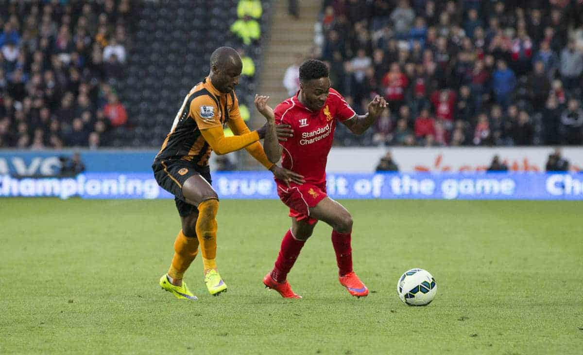 KINGSTON-UPON-HULL, ENGLAND - Tuesday, April 28, 2015: Liverpool's Raheem Sterling in action against Hull City's Sone Aluko during the Premier League match at the KC Stadium. (Pic by Gareth Jones/Propaganda)
