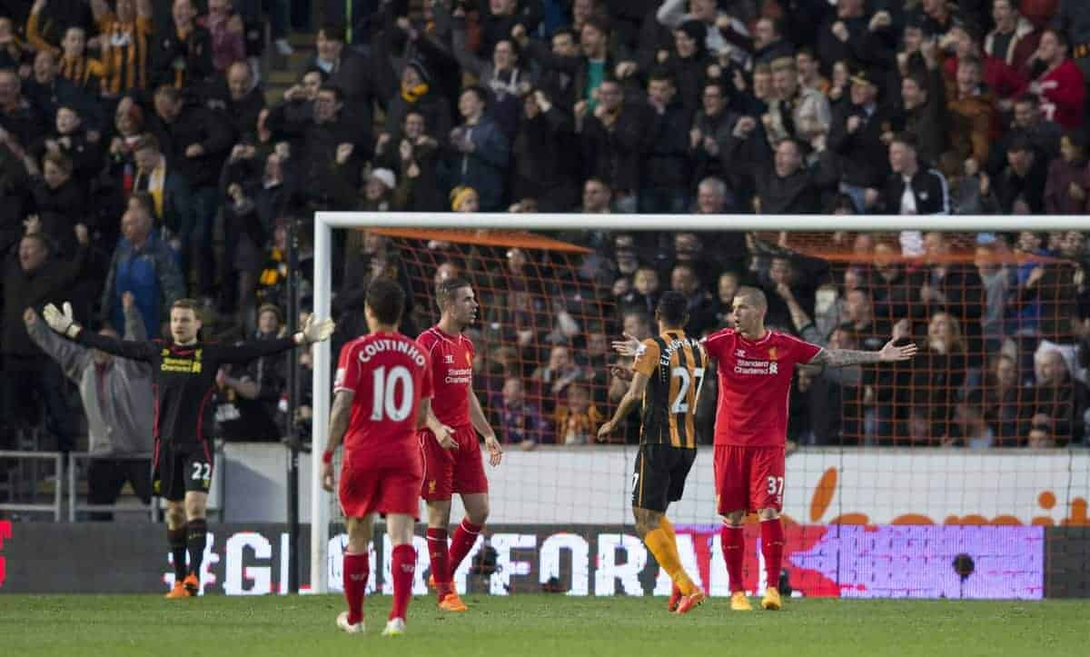 KINGSTON-UPON-HULL, ENGLAND - Tuesday, April 28, 2015: Liverpool's Martin Skrtel and goalkeeper Simon Mignolet appeal as they concede the first goal against Hull City during the Premier League match at the KC Stadium. (Pic by Gareth Jones/Propaganda)