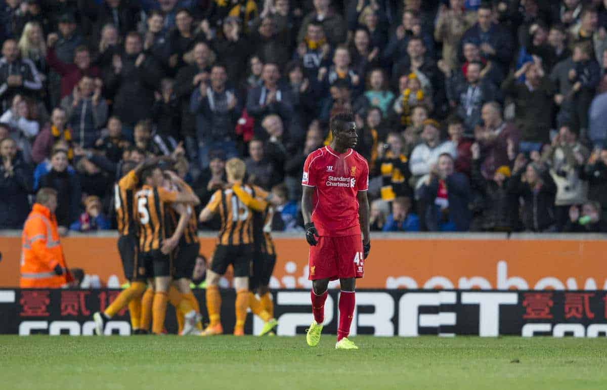 KINGSTON-UPON-HULL, ENGLAND - Tuesday, April 28, 2015: Liverpool's Mario Balotelli looks on as Hull City players celebrate the first goal scored by Michael Dawson during the Premier League match at the KC Stadium. (Pic by Gareth Jones/Propaganda)