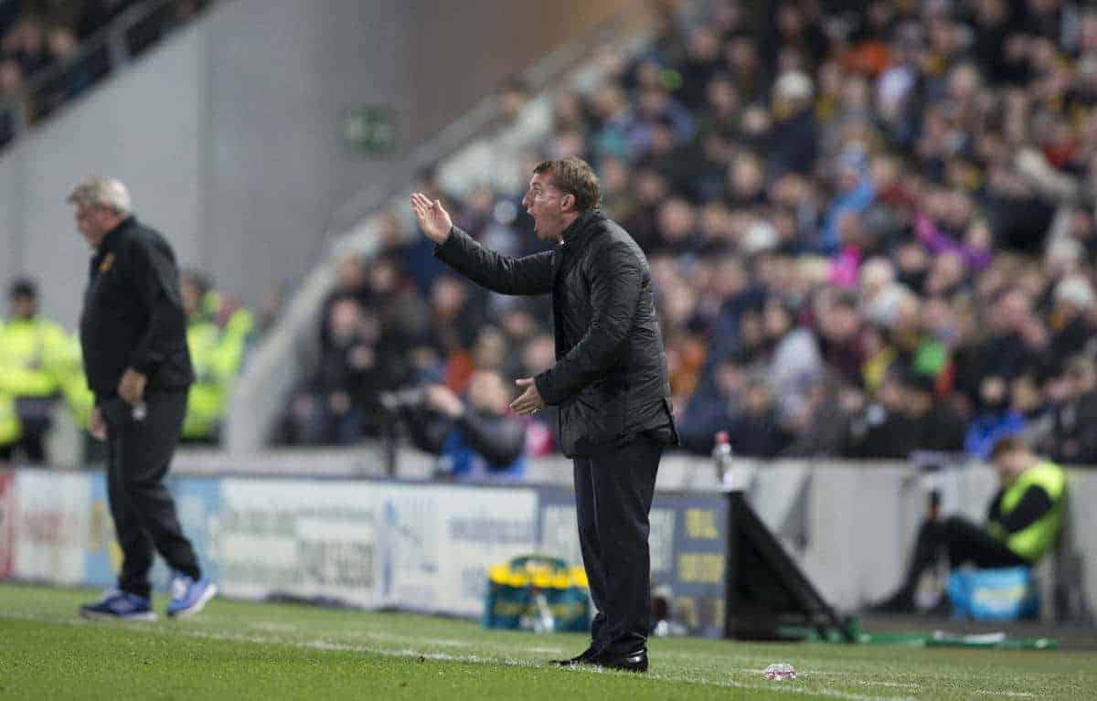 KINGSTON-UPON-HULL, ENGLAND - Tuesday, April 28, 2015: Liverpool's manager Brendan Rodgers shouts orders from the touchline against Hull City during the Premier League match at the KC Stadium. (Pic by Gareth Jones/Propaganda)