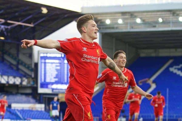 LIVERPOOL, ENGLAND - Thursday, April 30, 2015: Liverpool's Ryan Kent celebrates scoring the first goal against Everton during the Under 21 FA Premier League match at Goodison Park. (Pic by David Rawcliffe/Propaganda)