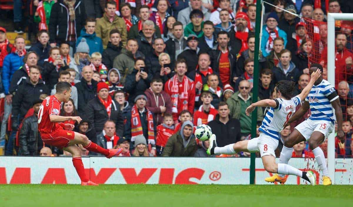 LIVERPOOL, ENGLAND - Saturday, May 2, 2015: Liverpool's Philippe Coutinho Correia scores the first goal against Queens Park Rangers during the Premier League match at Anfield. (Pic by David Rawcliffe/Propaganda)