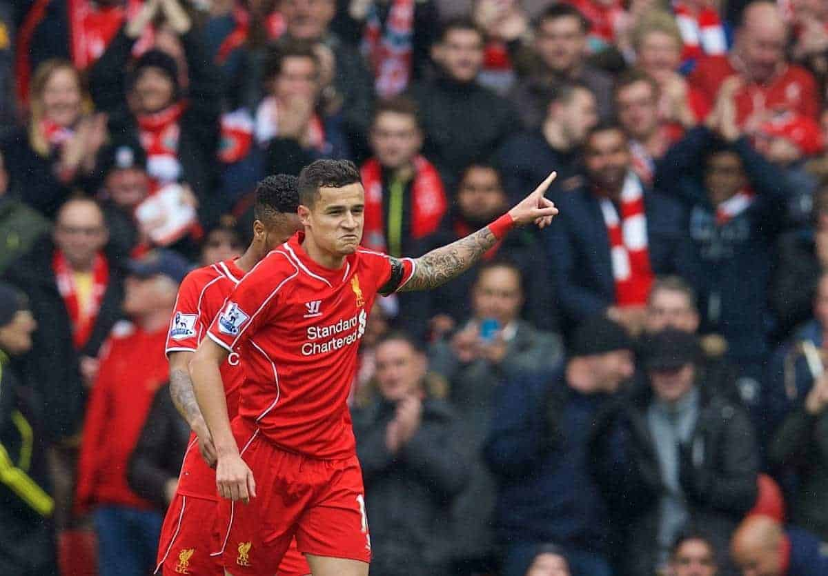Liverpool's Philippe Coutinho Correia celebrates scoring the first goal against Queens Park Rangers during the Premier League match at Anfield. (Pic by David Rawcliffe/Propaganda)