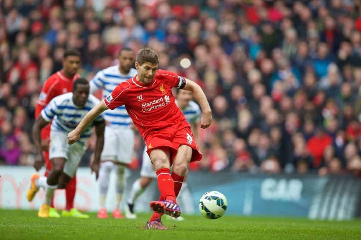 LIVERPOOL, ENGLAND - Saturday, May 2, 2015: Liverpool's captain Steven Gerrard misses a penalty kick against Queens Park Rangers during the Premier League match at Anfield. (Pic by David Rawcliffe/Propaganda)
