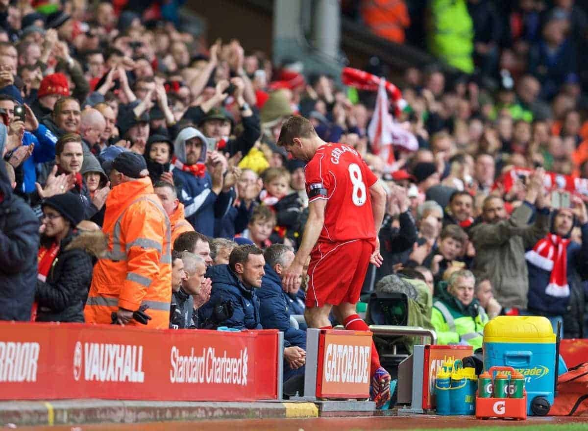 LIVERPOOL, ENGLAND - Saturday, May 2, 2015: Liverpool's captain Steven Gerrard match-winner captain Steven Gerrard walks off after being substituted against Queens Park Rangers during the Premier League match at Anfield. (Pic by David Rawcliffe/Propaganda)