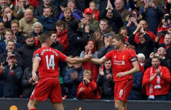 LIVERPOOL, ENGLAND - Saturday, May 2, 2015: Liverpool's captain Steven Gerrard celebrates scoring the second goal against Queens Park with team-mate Jordan Henderson Rangers during the Premier League match at Anfield. (Pic by David Rawcliffe/Propaganda)
