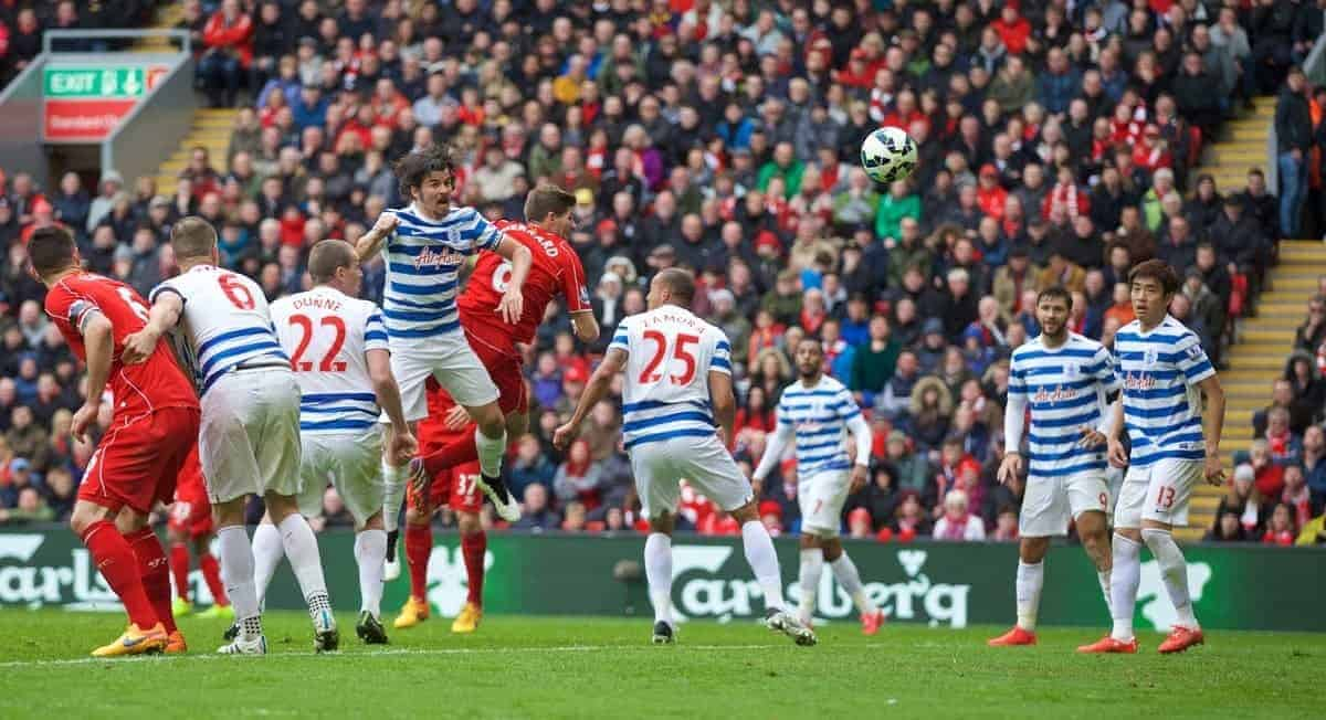 LIVERPOOL, ENGLAND - Saturday, May 2, 2015: Liverpool's captain Steven Gerrard scores the second goal against Queens Park Rangers during the Premier League match at Anfield. (Pic by David Rawcliffe/Propaganda)
