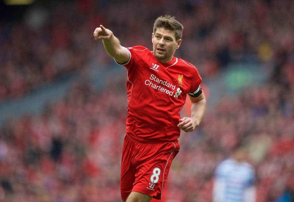 Liverpool's captain Steven Gerrard in action against Queens Park Rangers during the Premier League match at Anfield. (Pic by David Rawcliffe/Propaganda)
