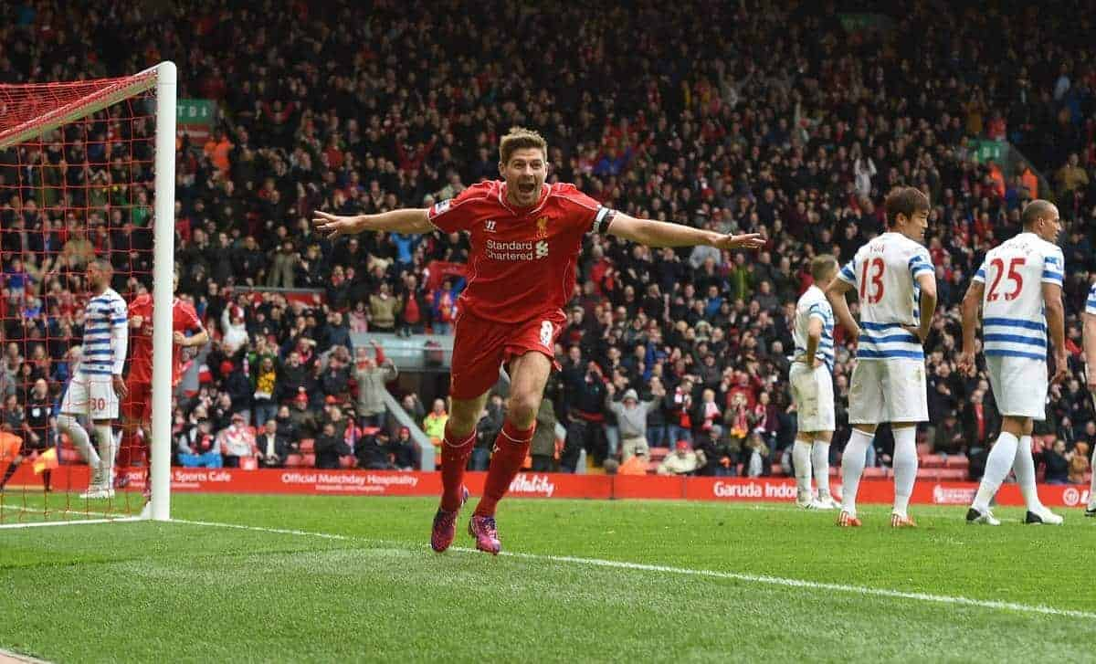 Liverpool's captain Steven Gerrard celebrates scoring the winning second goal against Queens Park Rangers during the Premier League match at Anfield. (Pic by David Rawcliffe/Propaganda)