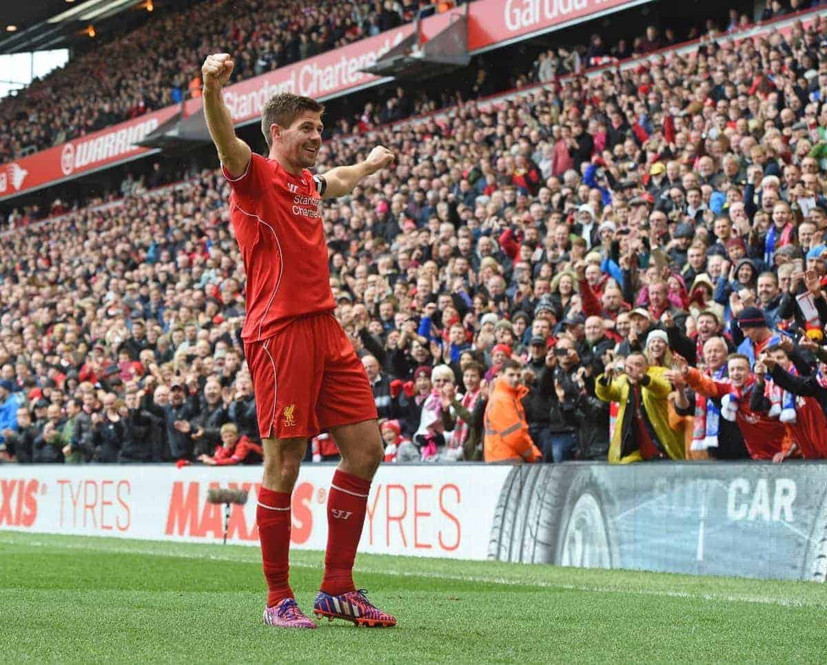 LIVERPOOL, ENGLAND - Saturday, May 2, 2015: Liverpool's captain Steven Gerrard celebrates scoring the winning second goal against Queens Park Rangers during the Premier League match at Anfield. (Pic by David Rawcliffe/Propaganda)