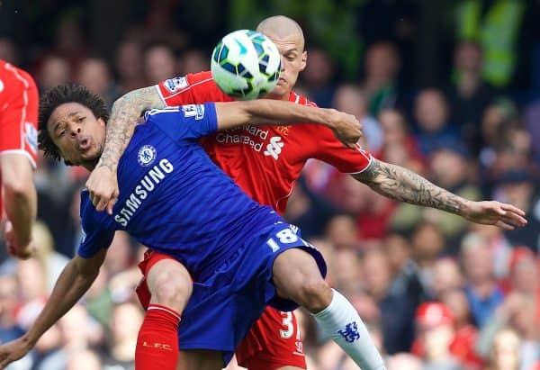 LONDON, ENGLAND - Sunday, May 10, 2015: Liverpool's Martin Skrtel in action against Chelsea's Loic Remy during the Premier League match at Stamford Bridge. (Pic by David Rawcliffe/Propaganda)