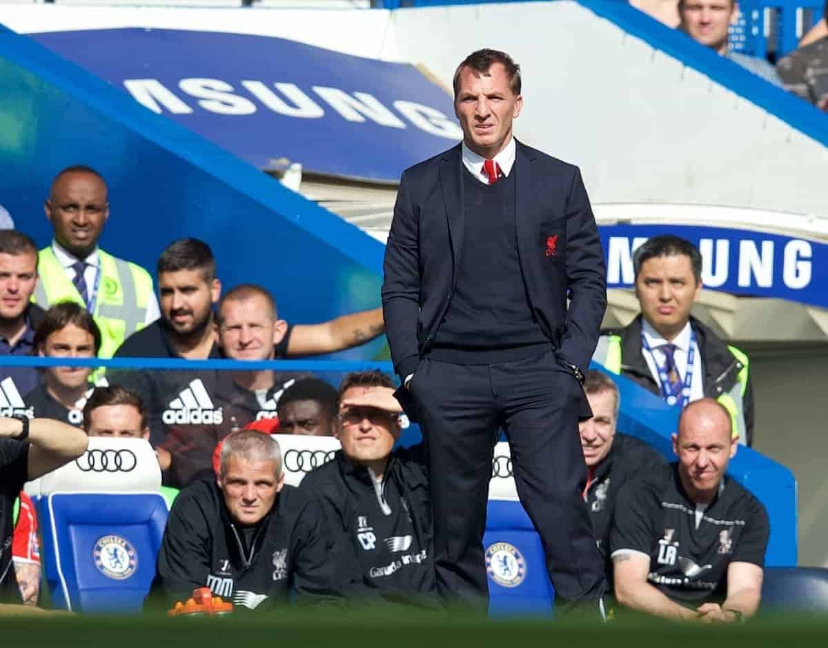 LONDON, ENGLAND - Sunday, May 10, 2015: Liverpool's manager Brendan Rodgers during the Premier League match against Chelsea at Stamford Bridge. (Pic by David Rawcliffe/Propaganda)