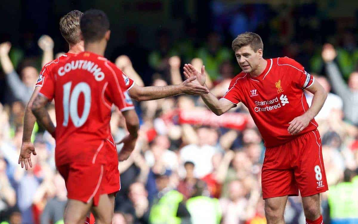 LONDON, ENGLAND - Sunday, May 10, 2015: Liverpool's captain Steven Gerrard celebrates scoring the first equalising goal against Chelsea during the Premier League match at Stamford Bridge. (Pic by David Rawcliffe/Propaganda)