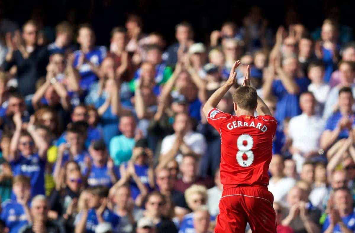 LONDON, ENGLAND - Sunday, May 10, 2015: Liverpool's captain Steven Gerrard is given a standing ovation by the Chelsea supporters as he is substituted during the Premier League match at Stamford Bridge. (Pic by David Rawcliffe/Propaganda)