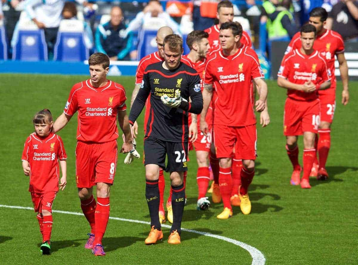 LONDON, ENGLAND - Sunday, May 10, 2015: Liverpool's captain Steven Gerrard leads his side out to face Chelsea before the Premier League match at Stamford Bridge. (Pic by David Rawcliffe/Propaganda)