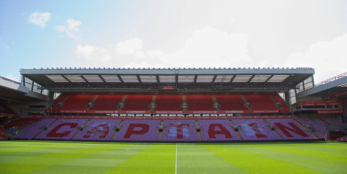 LIVERPOOL, ENGLAND - Saturday, May 16, 2015: A 'Captain' mosaic on the Centenary Stand seats as Liverpool supporters prepare to mark captain Steven Gerrard's last Anfield game before the Premier League match against Crystal Palace at Anfield. (Pic by David Rawcliffe/Propaganda)