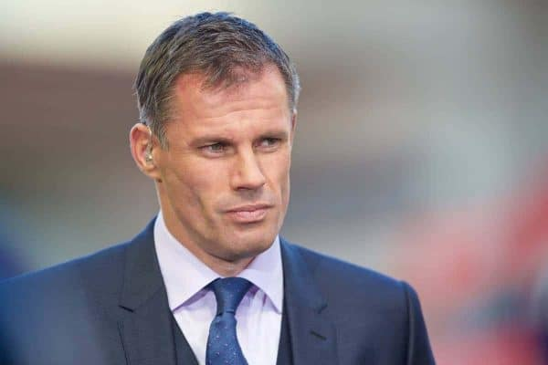 LIVERPOOL, ENGLAND - Saturday, May 16, 2015: Former Liverpool player Jamie Carragher before the Premier League match against Crystal Palace at Anfield. (Pic by David Rawcliffe/Propaganda)