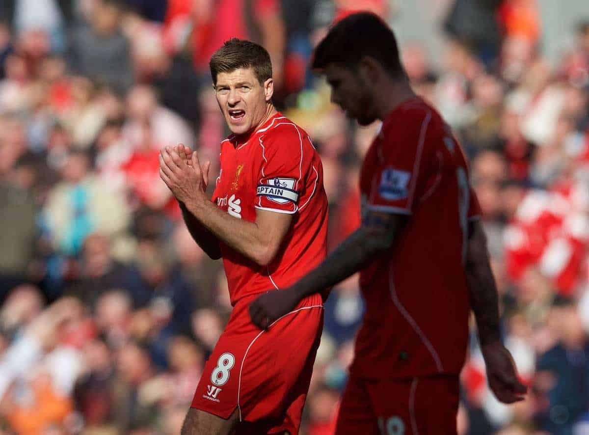LIVERPOOL, ENGLAND - Saturday, May 16, 2015: Liverpool's captain Steven Gerrard gees up his side as Crystal Palace score an equalising goal during the Premier League match at Anfield. (Pic by David Rawcliffe/Propaganda)