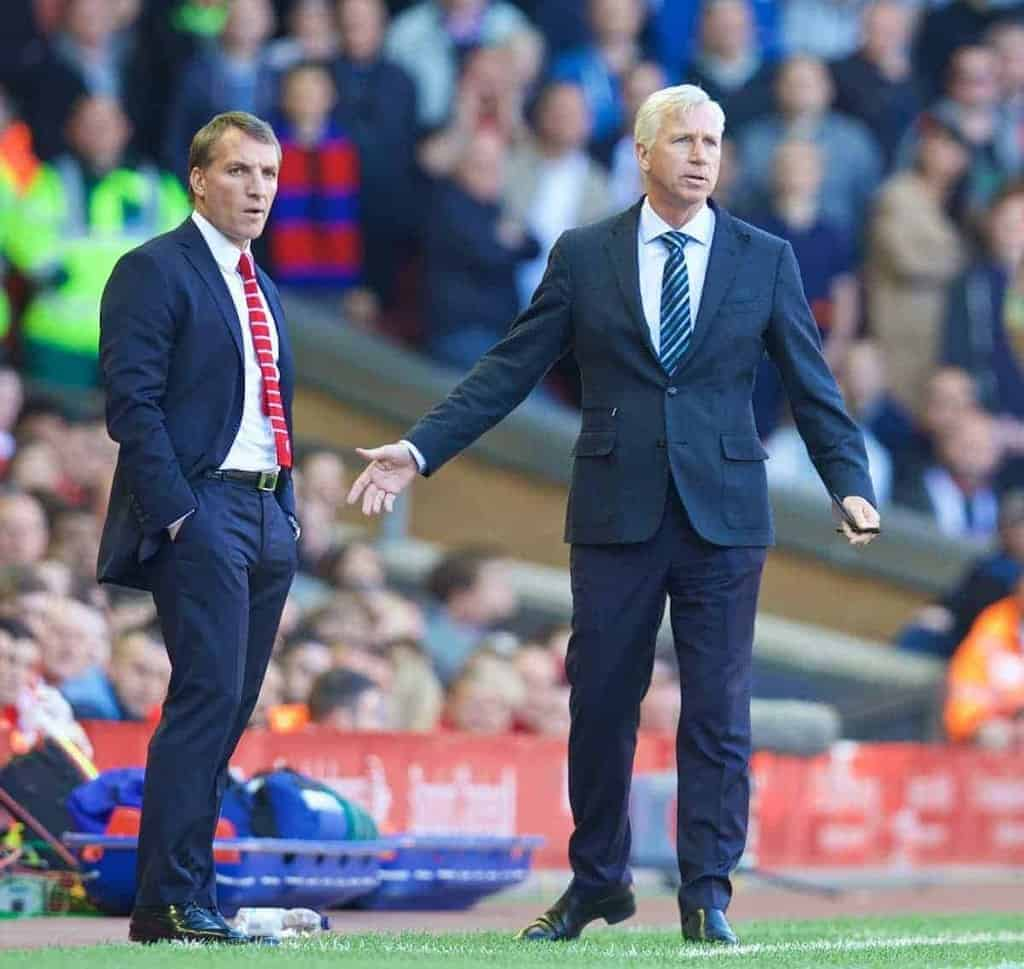 LIVERPOOL, ENGLAND - Saturday, May 16, 2015: Liverpool's manager Brendan Rodgers and Crystal Palace's manager Alan Pardew during the Premier League match at Anfield. (Pic by David Rawcliffe/Propaganda)