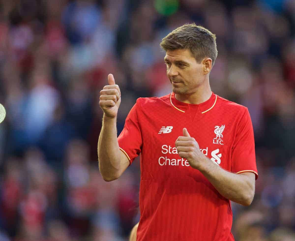 LIVERPOOL, ENGLAND - Saturday, May 16, 2015: Liverpool's captain Steven Gerrard waves goodbye to the supporters after his final game for the Reds at Anfield during the Premier League match against Crystal Palace. (Pic by David Rawcliffe/Propaganda)