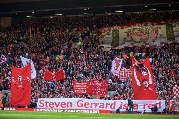 LIVERPOOL, ENGLAND - Saturday, May 16, 2015: Liverpool supporters with a Steven Gerrard banner before the Premier League match against Crystal Palace at Anfield. (Pic by David Rawcliffe/Propaganda)
