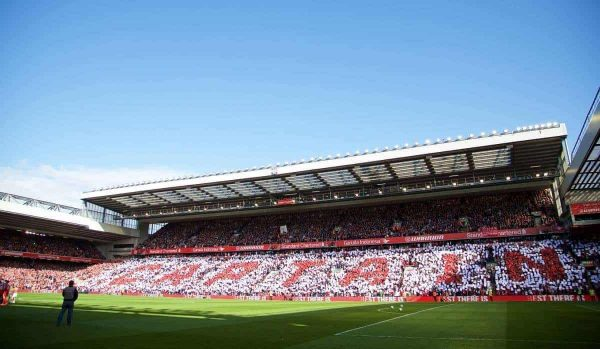 LIVERPOOL, ENGLAND - Saturday, May 16, 2015: Liverpool supporters' mosaic 'Captain' for Steven Gerrard before the Premier League match against Crystal Palace at Anfield. (Pic by David Rawcliffe/Propaganda)