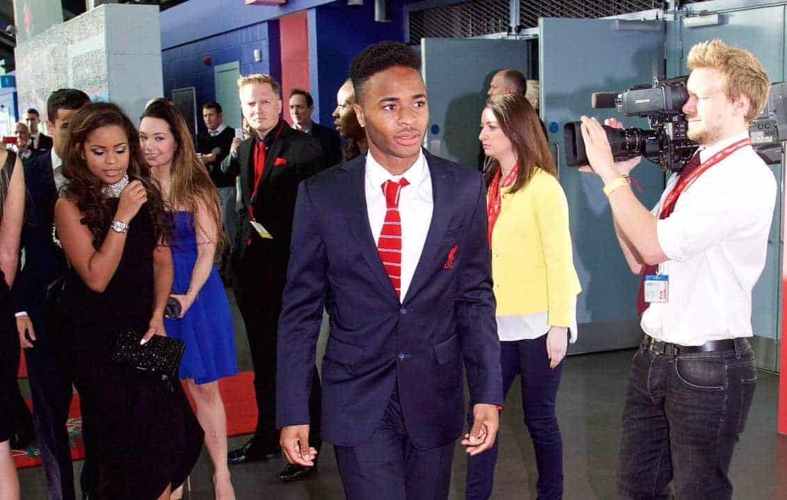 LIVERPOOL, ENGLAND - Tuesday, May 19, 2015: Liverpool's Raheem Sterling and girlfriend Ann Rose Halliday arrive on the red carpet for the Liverpool FC Players' Awards Dinner 2015 at the Liverpool Arena. (Pic by David Rawcliffe/Propaganda)