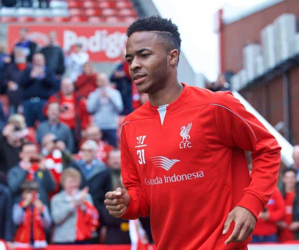 STOKE-ON-TRENT, ENGLAND - Sunday, May 24, 2015: Liverpool's Raheem Sterling runs out to face Stoke City during the Premier League match at the Britannia Stadium. (Pic by David Rawcliffe/Propaganda)