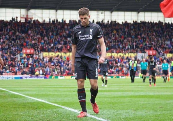 STOKE-ON-TRENT, ENGLAND - Sunday, May 24, 2015: Liverpool's captain Steven Gerrard walk off dejected as his side are losing 5-0 to lowly Stoke City during the Premier League match at the Britannia Stadium. (Pic by David Rawcliffe/Propaganda)