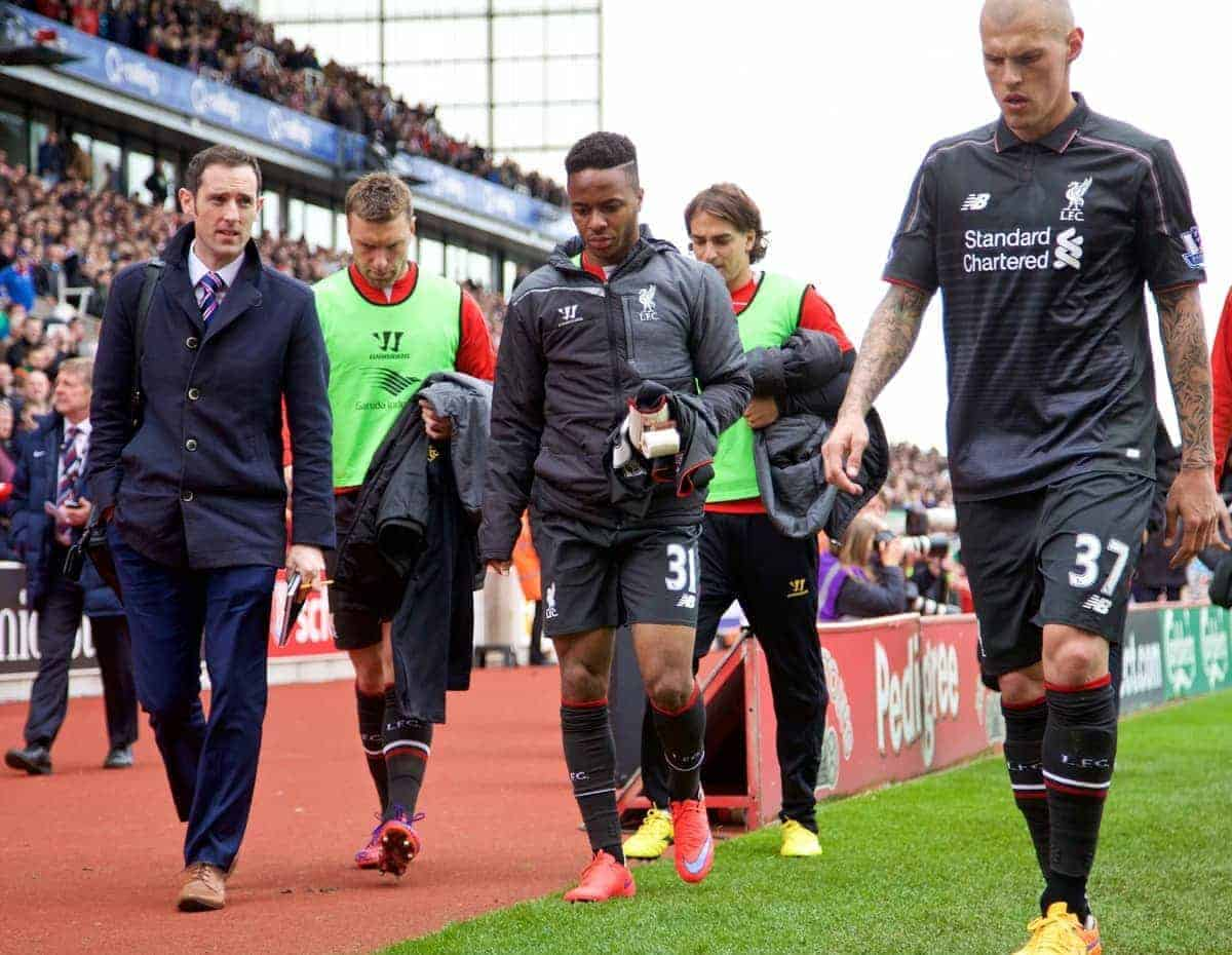 STOKE-ON-TRENT, ENGLAND - Sunday, May 24, 2015: Liverpool's substitute Raheem Sterling cannot look at the supporters as he walks off at half-time 5-0 down to lowly Stoke City during the Premier League match at the Britannia Stadium. (Pic by David Rawcliffe/Propaganda)