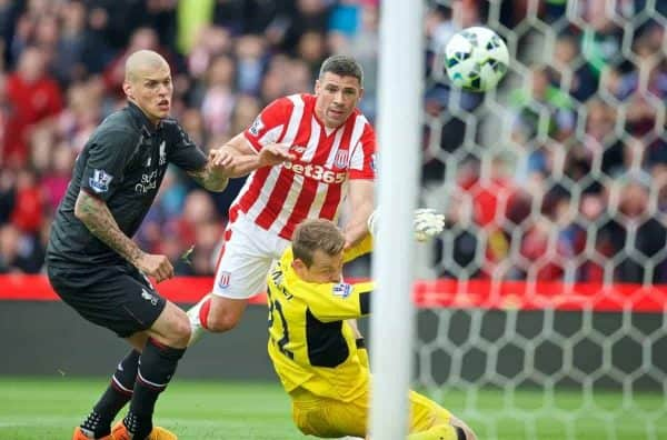 STOKE-ON-TRENT, ENGLAND - Sunday, May 24, 2015: Stoke City's Jonathan Walters scores the third goal against Liverpool during the Premier League match at the Britannia Stadium. (Pic by David Rawcliffe/Propaganda)