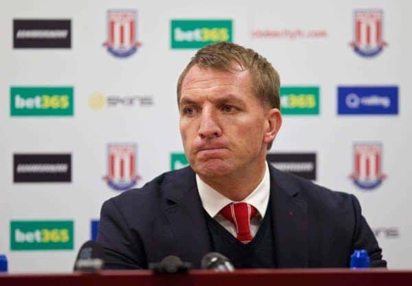 STOKE-ON-TRENT, ENGLAND - Sunday, May 24, 2015: Liverpool's manager Brendan Rodgers in a post-match press conference after his side's 6-1 defeat to Stoke City during the Premier League match at the Britannia Stadium. (Pic by David Rawcliffe/Propaganda)
