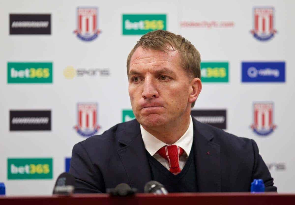 Liverpool's manager Brendan Rodgers in a post-match press conference after his side's 6-1 defeat to Stoke City during the Premier League match at the Britannia Stadium. (Pic by David Rawcliffe/Propaganda)