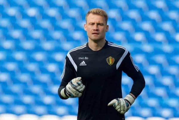 Belgium and Liverpool goalkeeper Simon Mignolet during a training session at the Cardiff City Stadium ahead of the UEFA Euro 2016 Qualifying Round Group B match against Wales. (Pic by David Rawcliffe/Propaganda)