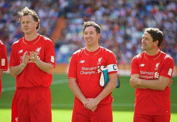 MADRIS, SPAIN - Sunday, June 14, 2015: Liverpool's Steve McManaman, Robbie Fowler and Michael Owen before the Corazon Classic Legends Friendly match against Real Madrid at the Estadio Santiago Bernabeu. (Pic by David Rawcliffe/Propaganda)
