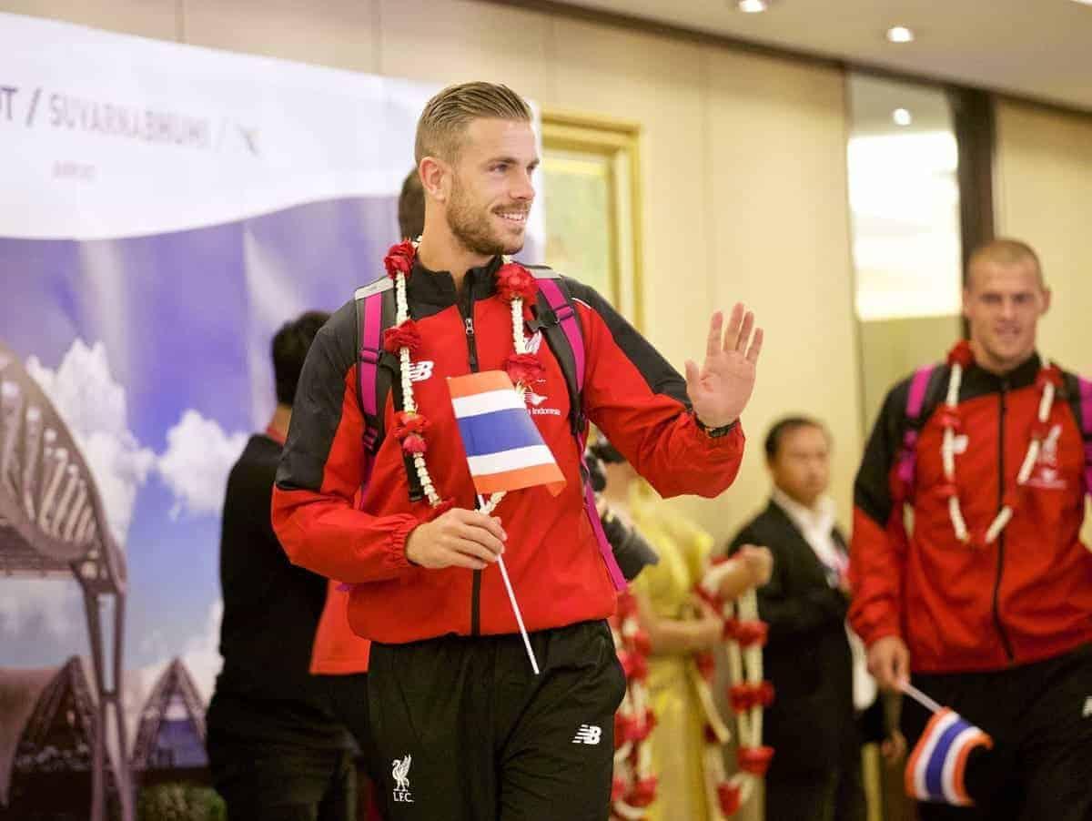 BANGKOK, THAILAND - Monday, July 13, 2015: Liverpool's new captain captain Jordan Henderson at Bangkok's Suvarnabhumi Airport as the team arrive in Thailand for the start of the club's preseason tour. (Pic by David Rawcliffe/Propaganda)