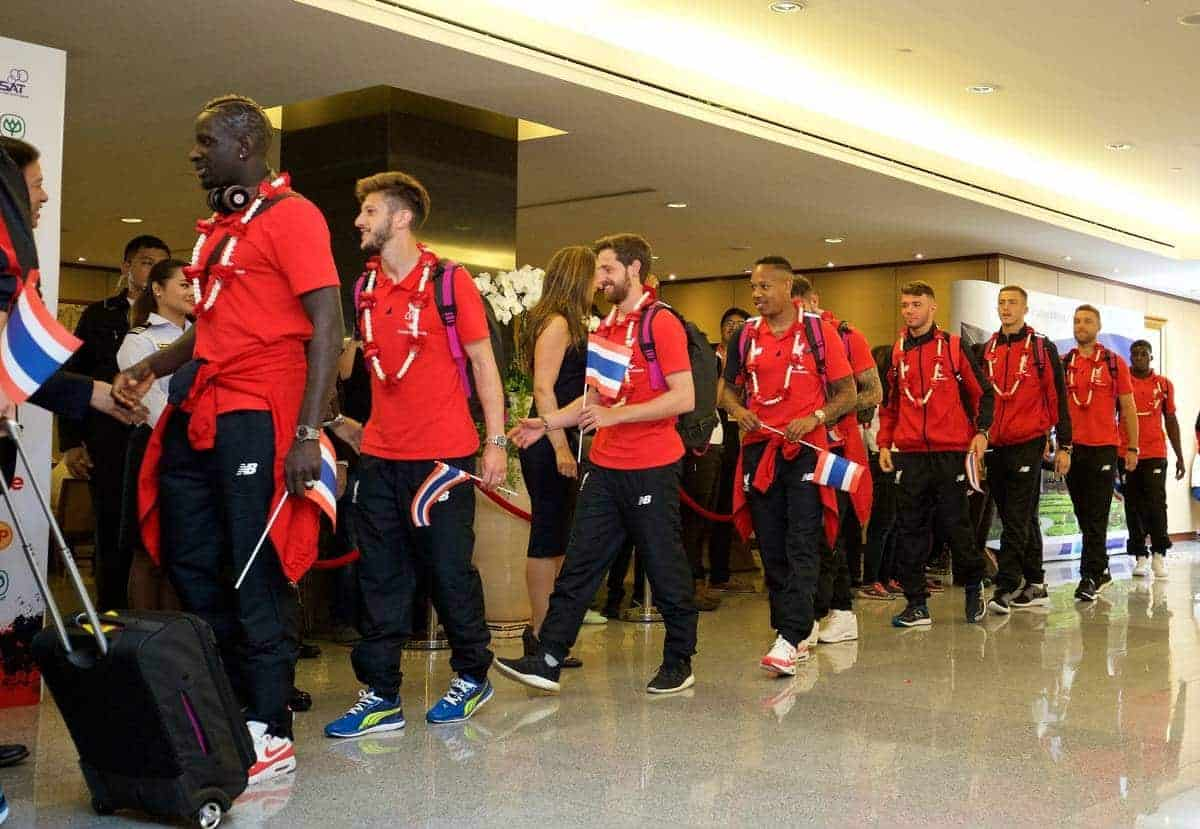 BANGKOK, THAILAND - Monday, July 13, 2015: Liverpool Mamadou Sakho, Adam Lallana, Joe Allen, Nathaniel Clyne at Bangkok's Suvarnabhumi Airport as the team arrive in Thailand for the start of the club's preseason tour. (Pic by David Rawcliffe/Propaganda)