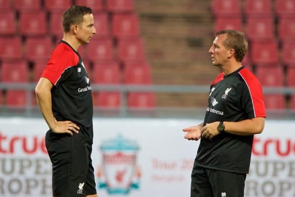 BANGKOK, THAILAND - Monday, July 13, 2015: Liverpool's manager Brendan Rodgers and first-team development coach Pepijn Lijnders during a training session at the Rajamangala National Stadium in Bangkok on day one of the club's preseason tour. (Pic by David Rawcliffe/Propaganda)