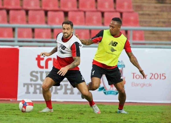 BANGKOK, THAILAND - Monday, July 13, 2015: Liverpool's Danny Ings takes a knock on his left leg from Nathaniel Clyne during a training session at the Rajamangala National Stadium in Bangkok on day one of the club's preseason tour. (Pic by David Rawcliffe/Propaganda)
