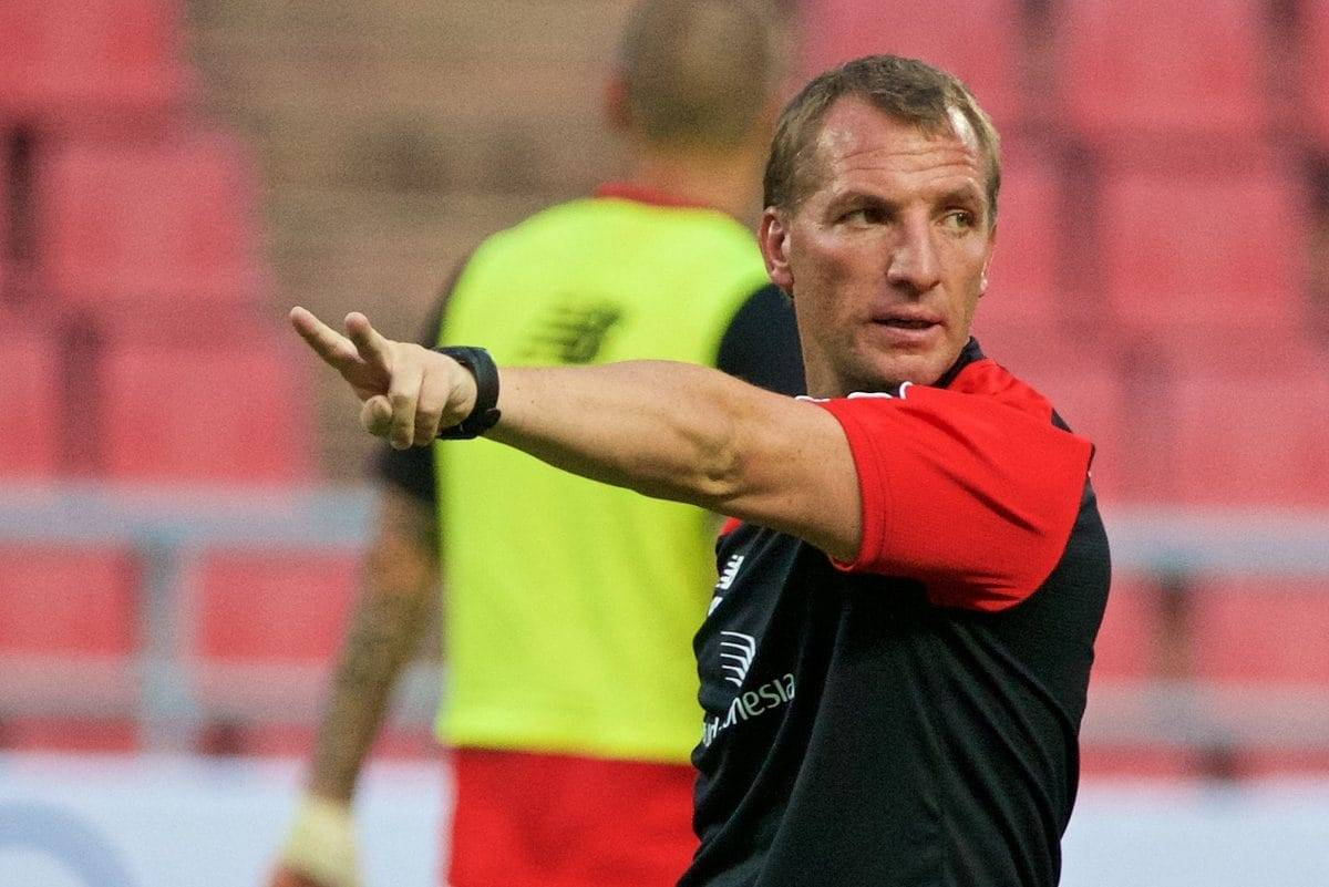 BANGKOK, THAILAND - Monday, July 13, 2015: Liverpool's manager Brendan Rodgers during a training session at the Rajamangala National Stadium in Bangkok on day one of the club's preseason tour. (Pic by David Rawcliffe/Propaganda)