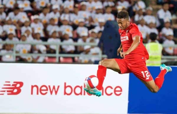 BANGKOK, THAILAND - Tuesday, July 14, 2015: Liverpool's Joe Gomez in action against True Thai Premier League All Stars during the True Super Trophy match at the Rajamangala National Stadium on day two of the club's preseason tour. (Pic by David Rawcliffe/Propaganda)