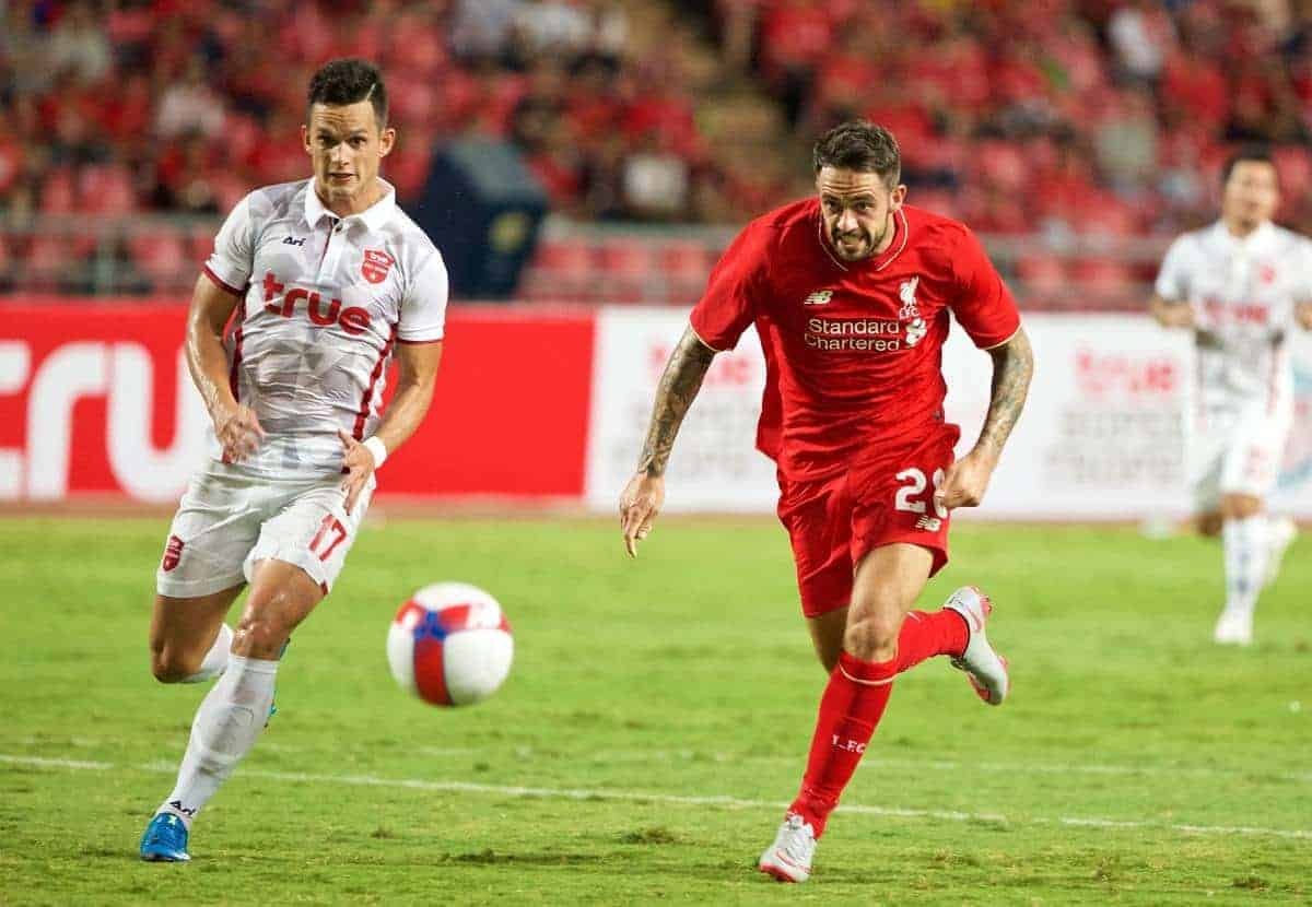 BANGKOK, THAILAND - Tuesday, July 14, 2015: Liverpool's Danny Ings in action against True Thai Premier League All Stars during the True Super Trophy match at the Rajamangala National Stadium on day two of the club's preseason tour. (Pic by David Rawcliffe/Propaganda)