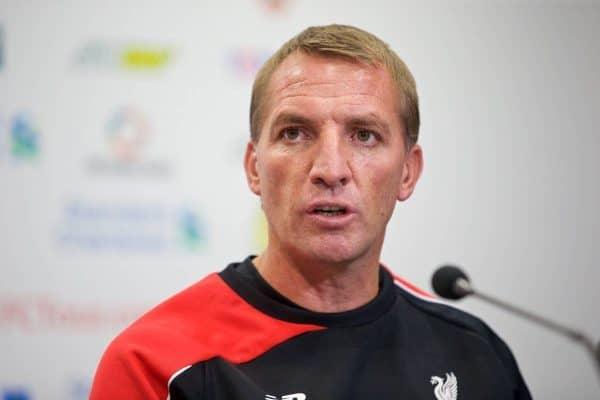 BRISBANE, AUSTRALIA - Thursday, July 16, 2015: Liverpool's manager Brendan Rodgers at a press conference at the Suncorp Stadium in Brisbane on day four of the club's preseason tour. (Pic by David Rawcliffe/Propaganda)