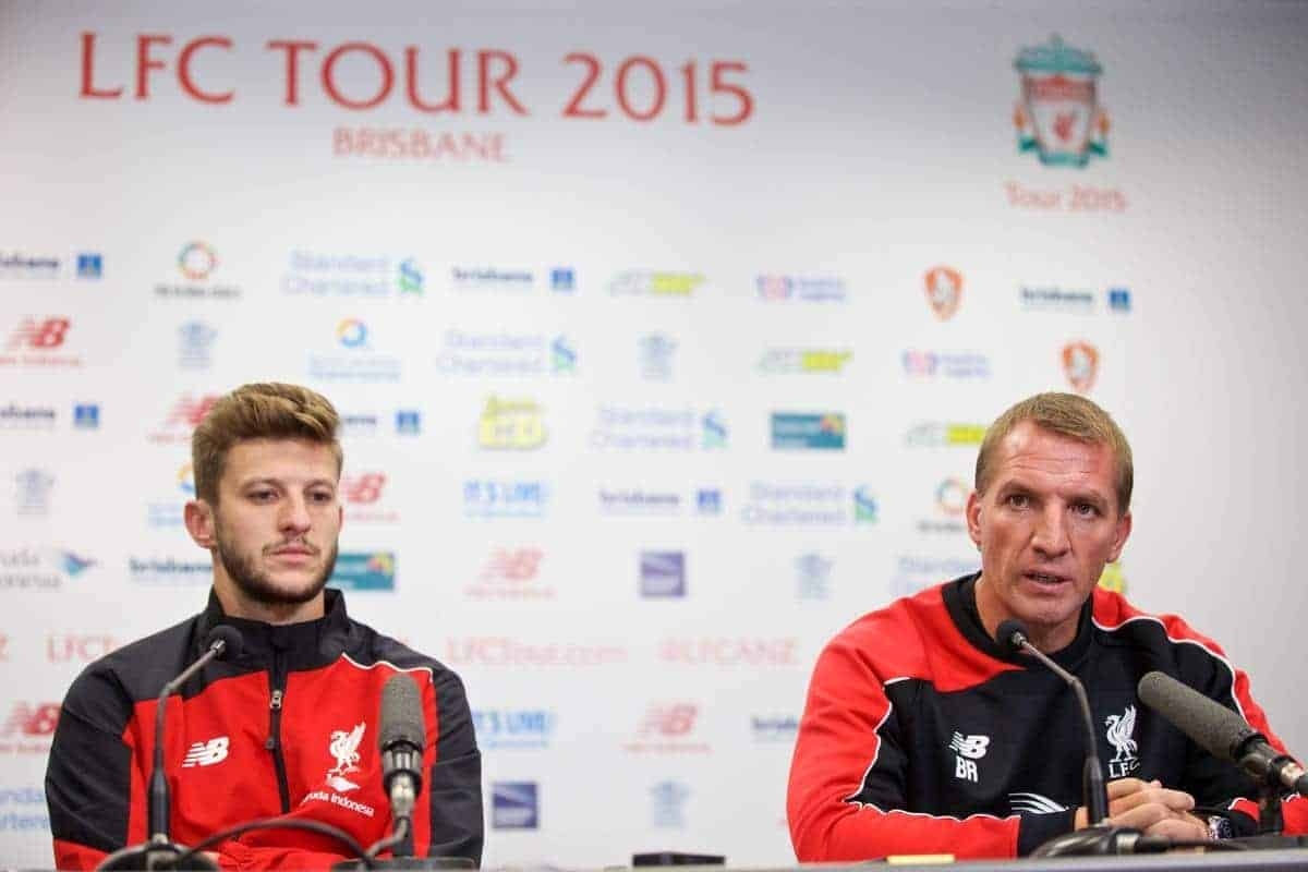BRISBANE, AUSTRALIA - Thursday, July 16, 2015: Liverpool's manager Brendan Rodgers ands Adam Lallana at a press conference at the Suncorp Stadium in Brisbane on day four of the club's preseason tour. (Pic by David Rawcliffe/Propaganda)
