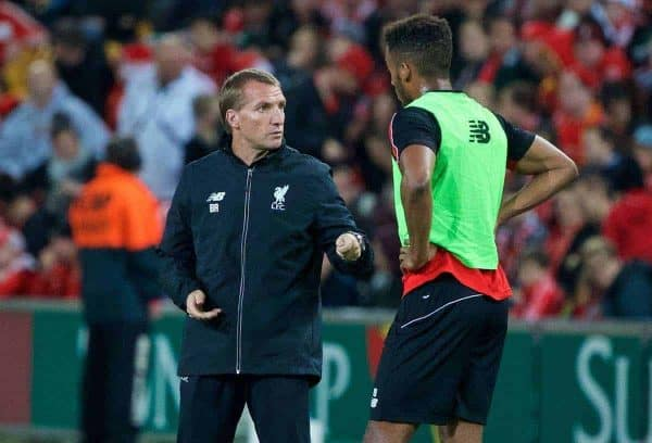 BRISBANE, AUSTRALIA - Thursday, July 16, 2015: Liverpool's manager Brendan Rodgers and Joe Gomez during a training session at the Suncorp Stadium in Brisbane on day four of the club's preseason tour. (Pic by David Rawcliffe/Propaganda)