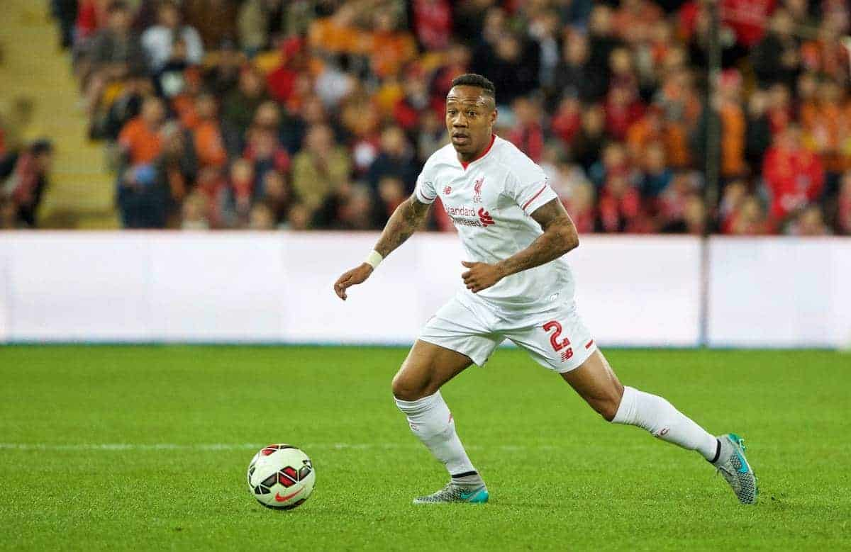 BRISBANE, AUSTRALIA - Friday, July 17, 2015: Liverpool's Nathaniel Clyne in action against Brisbane Roar during a preseason friendly match at the Suncorp Stadium on day five of the club's preseason tour. (Pic by David Rawcliffe/Propaganda)