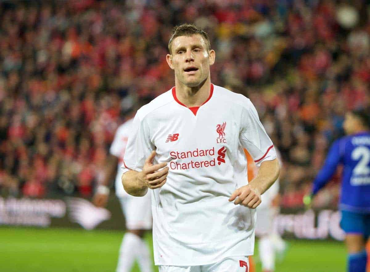 BRISBANE, AUSTRALIA - Friday, July 17, 2015: Liverpool's James Milner in action against Brisbane Roar during a preseason friendly match at the Suncorp Stadium on day five of the club's preseason tour. (Pic by David Rawcliffe/Propaganda)