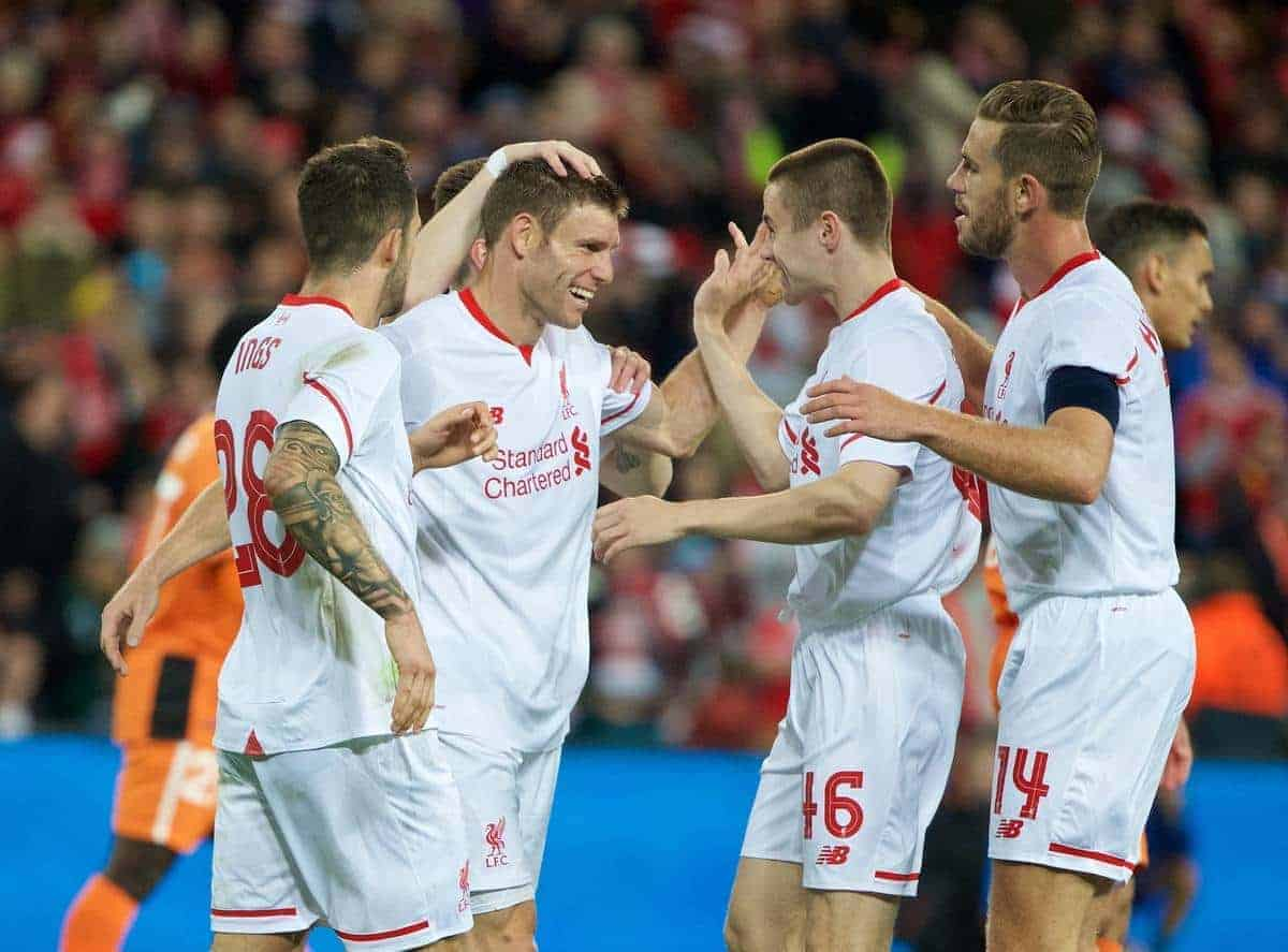 BRISBANE, AUSTRALIA - Friday, July 17, 2015: Liverpool's James Milner celebrates scoring the second goal against Brisbane Roar during a preseason friendly match at the Suncorp Stadium on day five of the club's preseason tour. (Pic by David Rawcliffe/Propaganda)